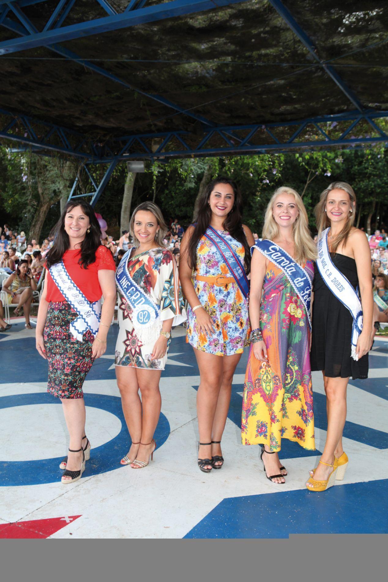 Clebiana, Josiane, Etiele, Diana e Kellen, todas veteranas do Garota do Sol, retornaram ao concurso na posição de juradas.