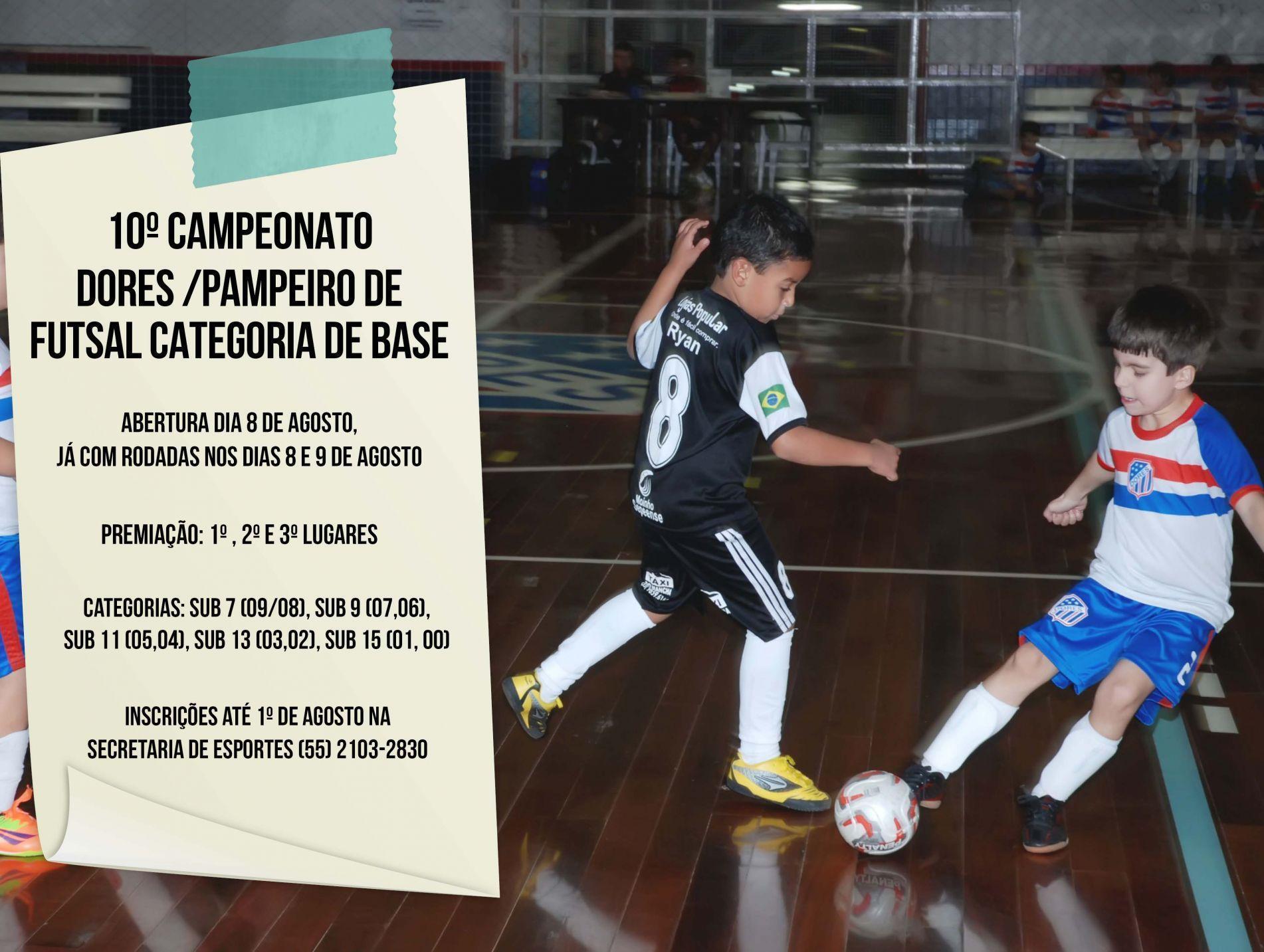 10º Campeonato Dores/ Pampeiro de futsal categorias de base 2015
