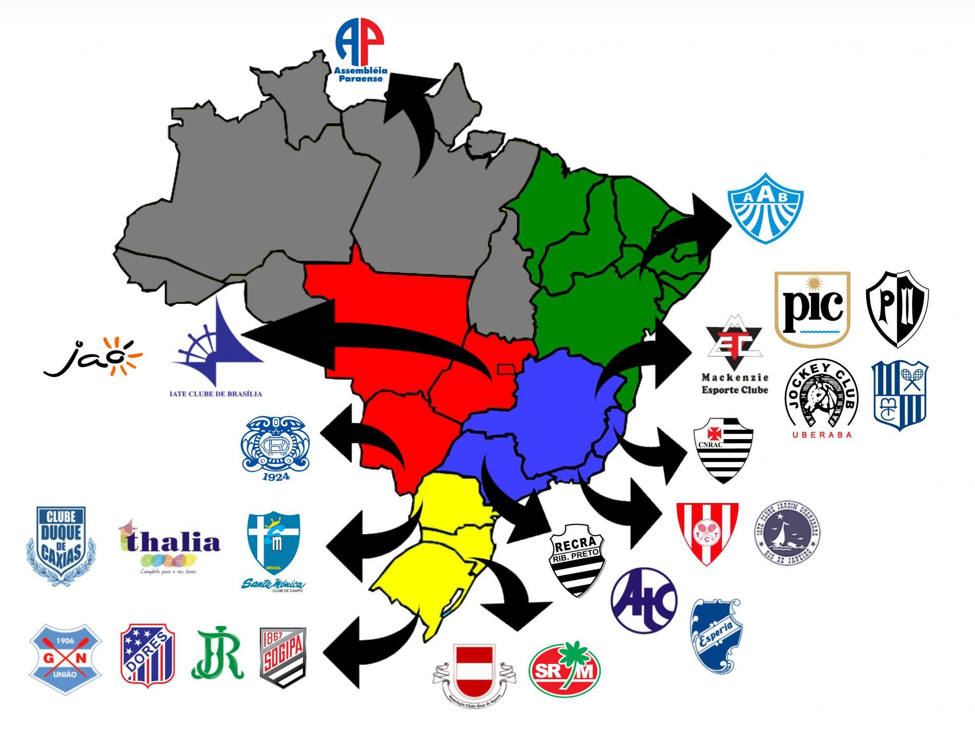 os 25 Clubes de todo o país que fazem parte do convênio da Fenaclubes (Federação Nacional dos Clubes).