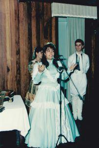Fabiana declama, em 1992.