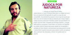 Esta foto e texto estão disponíveis no site revezamentobra.com.br, no qual estão listados os exemplos de dedicação ao esporte que carregarão a Tocha Olímpica pelo Brasil.