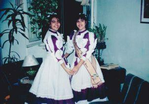 Ao lado da prima Ana Lucia, a primeira prenda do DT de 1991.