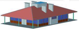 Desenho 3D de como ficará o prédio das novas churrasqueiras cobertas, quando pronto.